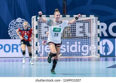Brest, France - December 01, 2018: The handball player BÖLK Emily happy to score during the game between Norway and Germany  at Handball European Championship - Preliminary Round.