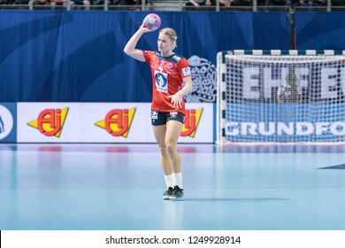 Brest, France - December 01, 2018: The handball player KRISTIANSEN Veronica  during the game between Norway and Germany  at Handball European Championship - Preliminary Round.