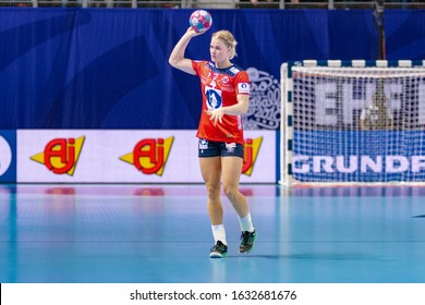 Brest, France - December 01,2018: Handball player KRISTIANSEN Veronica Egebakken during the game between Germany vs Norway ( 33-32 ) at 2018 Women's EHF EURO - Group Matches