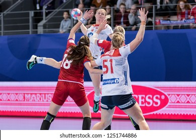 Brest, France - December 03, 2018: The handball players INGSTAD Mortensen and KRISTIANSEN Veronica during the game between Norway and Czech Republic at Handball European Championship 2018 - Preliminar