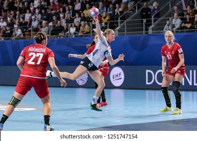 Brest, France - December 03, 2018: The handball player KRISTIANSEN Veronica  during the game between Norway and Czech Republic at Handball European Championship 2018 - Preliminary Round.