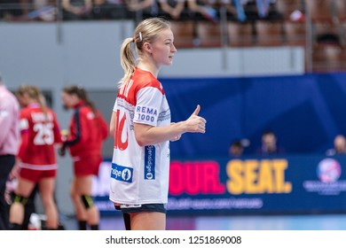 Brest, France - December 03, 2018: The handball player OFTEDAL Stine Bredal   during the game between Norway and Czech Republic at Handball European Championship 2018 - Preliminary Round.
