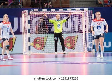 Brest, France - December 03, 2018: The handball player LUNDE Katrine  during the game between Norway and Czech Republic at Handball European Championship - Preliminary Round.