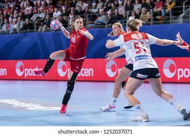 Brest, France - December 03, 2018: The handball player LUZUMOVA Iveta during the game between Norway and Czech Republic at Handball European Championship - Preliminary Round.
