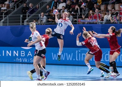 Brest, France - December 03, 2018: The handball player KRISTIANSEN Veronica during the game between Norway and Czech Republic at Handball European Championship - Preliminary Round.