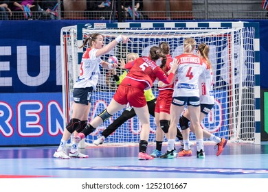 Brest, France - December 03, 2018: The handball player BRATTSET Kari Skaar during the game between Norway and Czech Republic at Handball European Championship - Preliminary Round.