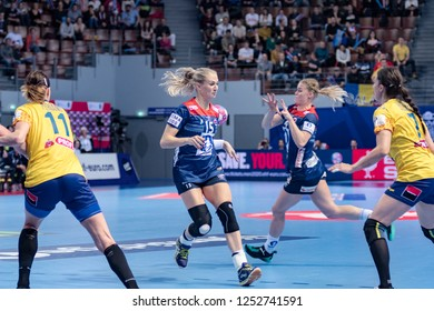 Brest, France - December 05,2018: The handball players SULLAND Linn Jorum and  KRISTIANSEN Veronica during the game between Norway and Romania at Women's EHF EURO 2018 -  Preliminary Round.