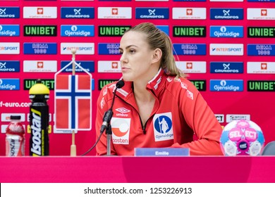 Brest, France - December 05,2018: The handball player ARNTZEN Emilie Hegh at press conference after the game between Norway and Romania at Handball European Championship 2018 -  Preliminary Round.