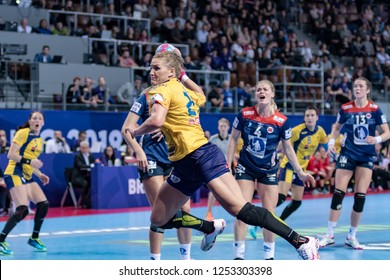 Brest, France - December 05,2018: The handball player  PINTEA Crina during the game between Norway and Romania at Handball European Championship 2018 -  Preliminary Round.