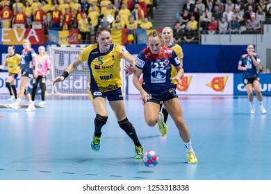 Brest, France - December 05,2018: The handball player HERREM Camilla  during the game between Norway and Romania at Handball European Championship 2018 -  Preliminary Round.