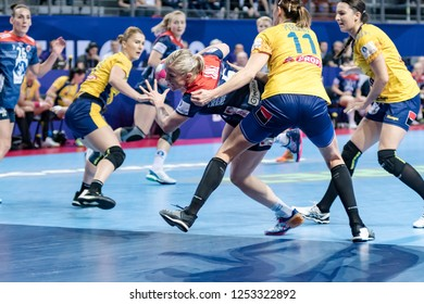 Brest, France - December 05,2018: The handball player LOKE Heidi during the game between Norway and Romania at Handball European Championship 2018 -  Preliminary Round.