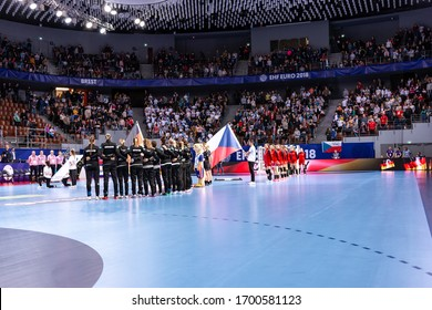 Brest, France - December 05,2018 : Handball players during the game between Czech Republic vs Germany ( 28 - 30 )  2018 Women's EHF EURO - Group Phase