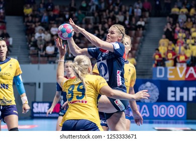 Brest, France - December 05,2018: The Norwegian handball player shoot to score during the game between Norway and Romania at Handball European Championship 2018 -  Preliminary Round.