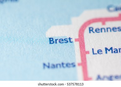 Brest, France on a geographical map.