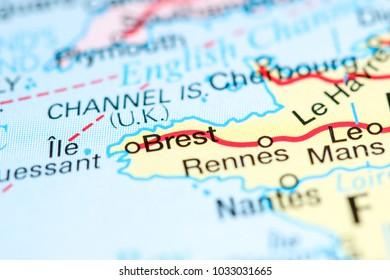Brest France On Map Stock Photo Edit Now 1033031665 Shutterstock