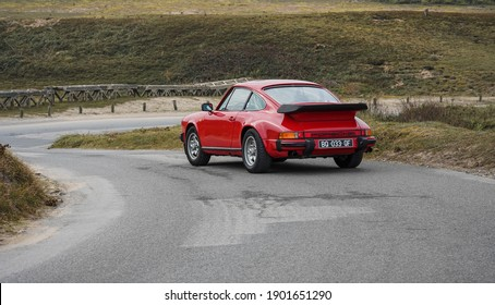 Bretagne, France- 09 October 2016: Driving classic Porsche 911 Type G 3.0 L.