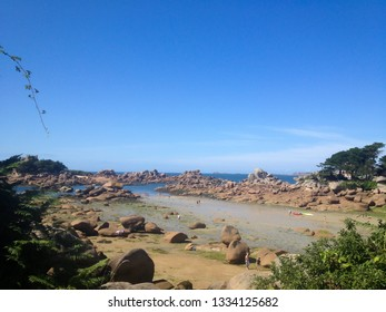 Bretagne, France - August 12, 2013: people on the beach in Bretagne during summer vacation