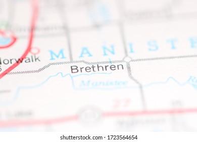 Brethren. Michigan. USA on a geography map.