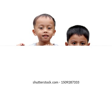 Brethren peeking from behind copy space isolated on white background.