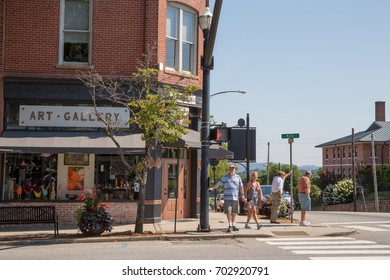 BREVARD, NC - August 20, 2017:  A view of downtown Brevard, a North Carolina mountain community popular with tourists and retirees.