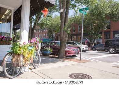 BREVARD, NC (USA) - July 7, 2019:  The  downtown intersection of Broad and Main Streets are lined with shops awaiting the first tourists on a Sunday morning.