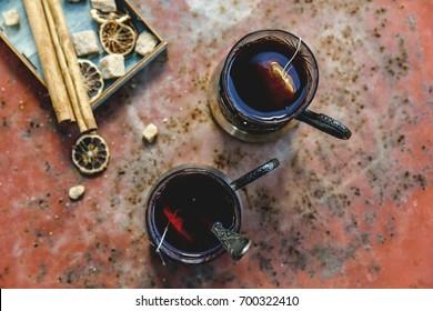 Brewed tea bags in cups. Top view.