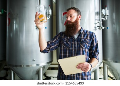 brewer checking beer for qaulity at brewery while holding clipboard
