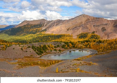 Brewer Creek Tarn, British Columbia, Canada in Fall with Golden Larch. Purcell Mountain Landscape