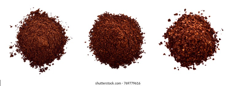Brewing appropriate coffee powder for coffee on white background.