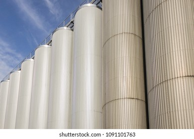 Brewing storage tanks at the brewery  for beer and other alcohol drinks