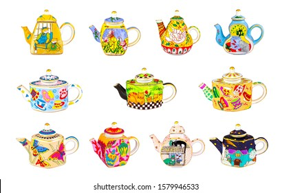 Brewing teapot set isolated on white background. Wonderful brewing teapots in row