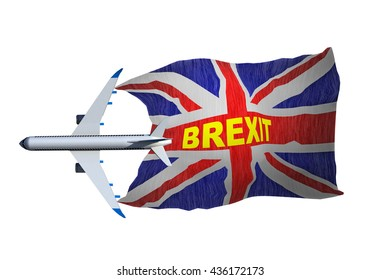 brexit airplane britain flag , 3d rendering