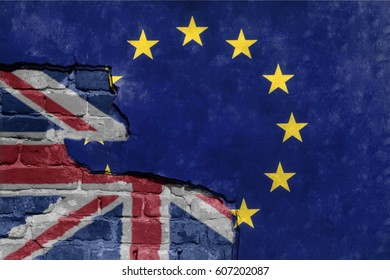Brexit blue european union EU flag on broken wall and half great britain flag, vote for united kingdom exit concept