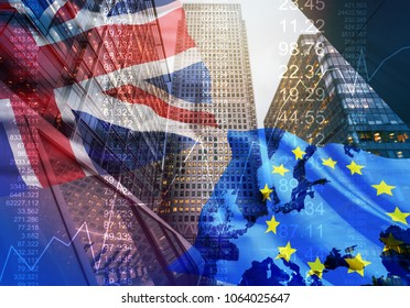 Brexit blue european union flag with great britain flag, united kingdom economy