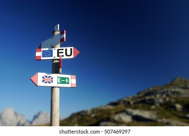 Brexit concept. British flag exit sign and EU flag on mountain road sign.