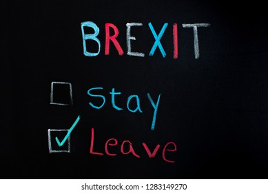 Brexit concept, choice between staying or leaving, written on blackboard.