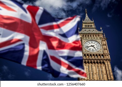 brexit concept - double exposure of flag and Westminster Palace with Big Ben
