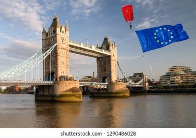Brexit concept.  European union and Tower bridge
