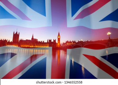 Brexit concept - image of Big Ben and UK flag overlaid symbolising agreement and deal being processed