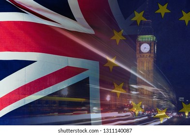 BREXIT concept image of London image and UK and EU flags overlaid symbolising agreement and deal being processed
