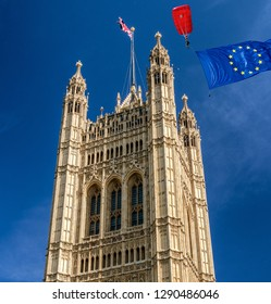 Brexit concept in London. European union flag and Victoria tower in Great Britain