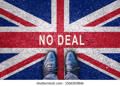 Brexit concept, no deal on a flag of the United Kingdom on asphalt road with legs