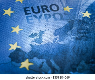 Brexit concept. Unfocused Euro bill close up detail of Europe map with focus on Great Britain. European Union colors flag with yellow stars effect over Europe map.