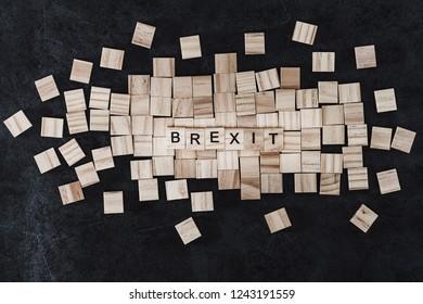 Brexit Concept - Wood blocks arranged in Brexit