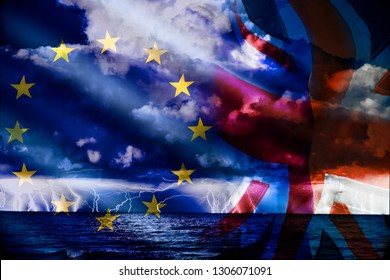 Brexit conflictconceptuall image witth a sea thunderstorm and the flag of uk and europe.