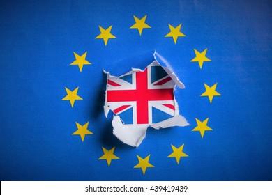 Brexit - Detail of Paper Flag of Blue European Union EU Flag Dra