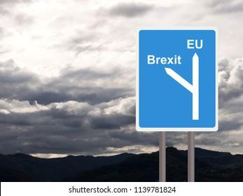 Brexit, EU road sign, signpost against cloudy sky. Concept, politics UK.
