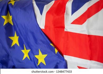 Brexit European and UK flag together