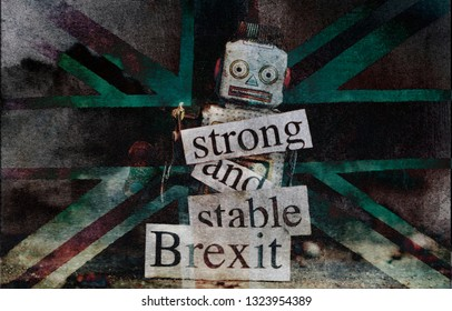 Brexit fail concept with retro  robot old post card texture