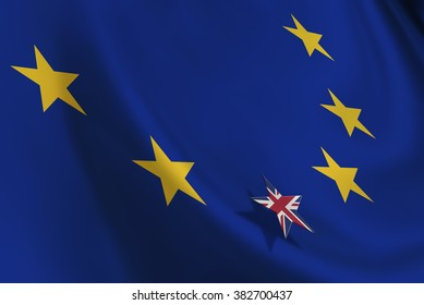 Brexit : Flag of EU with small flag of UK. A symbol of leaving after the crucial referendum that could alter the union's basic principles and re-impose restrictions on the free movement of people.